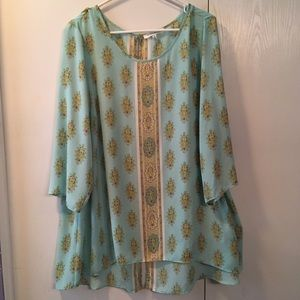Women's Rose + Olive Tunic Patterned Top Mint 2X